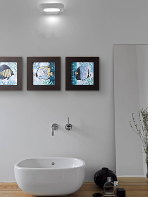 Trio de Quadros Pretos de Peixes com Moldura e Vidro