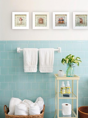 Kit 4 Quadros Brancos Banheiro Lavanderia, Moldura e Vidro