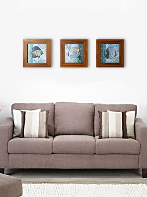 Kit 3 quadros decorativos moldura e vidro Tam 30x30cm cada