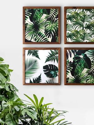 Quateto de Quadros De Flores com Vidro Tam. 34 x 34 cm cada