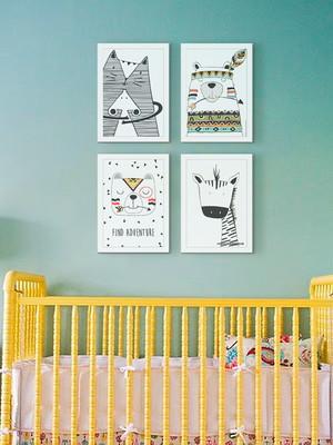 Kit 4 Quadros Para Quarto Infantil Moldura e Vidro