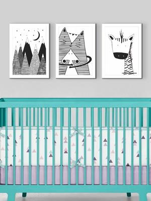 Kit 3 Quadros Para Quarto Infantil, com Moldura e Vidro