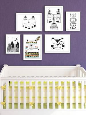 Kit 6 Quadros Infantis, Escandinavos, Moldura e Vidro