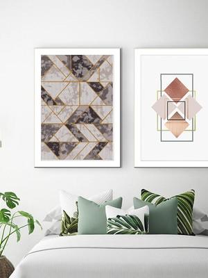 Dupla de Quadros Abstratos Geométricos, com moldura e vidro
