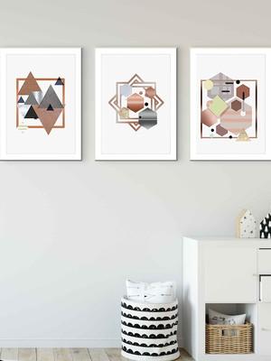 Trio de Quadros Abstratos Geométricos, com moldura e vidro