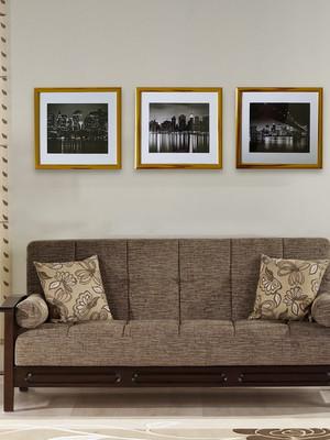 Conjunto com 3 Quadros Minimalistas, Moldura Dourada e Vidro