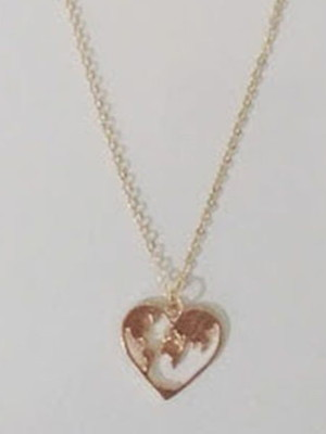Kit 3 colares Mapa Mundi Heart