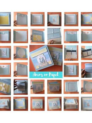 scrapbook álbum fotos decorado menino com caixa