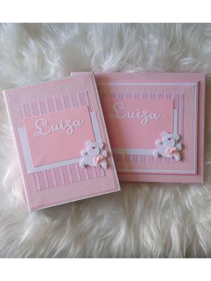 álbum fotos e caixa bebê menina ursinha scrapbook ursa rosa