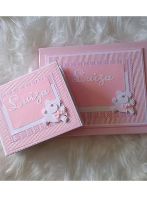 álbum para fotos e caixa decorados scrapbook menina ursinha