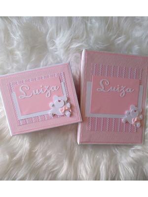 kit 2 álbuns scrapbook para menina ursinha rosa