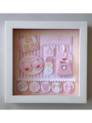Quadro porta maternidade quarto menina fofa scrapbook rosa