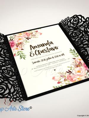 Arquivo de corte Convite de casamento Vazado Rosas
