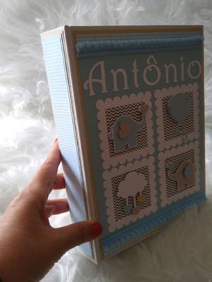 álbum personalizado fotos bebê menino scrapbook elefantinho