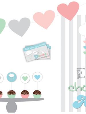 Kit Festa Chá Revelação Chuva de Amor - Digital