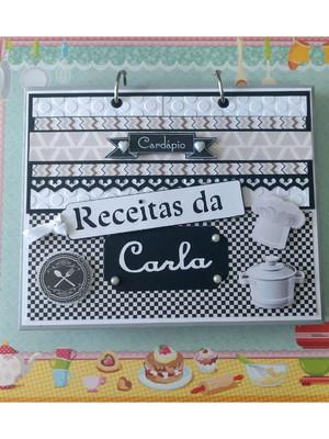caderno receitas fichário personalizado preto e branco