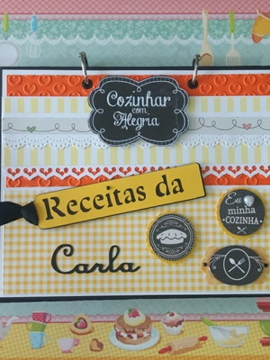 caderno de receitas fichário personalizado scrapbook laranja