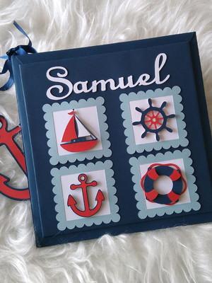 livro diário bebê personalizado menino marinheiro scrapbook