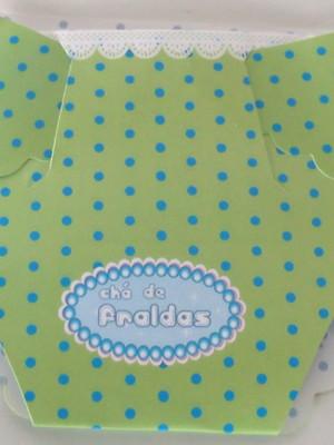 Convite Cha Bebê Fralda Verde com Poa Azul (10 unid.)