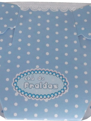 Convite Cha Bebê Fralda Azul com Poa Branco (01 convite)
