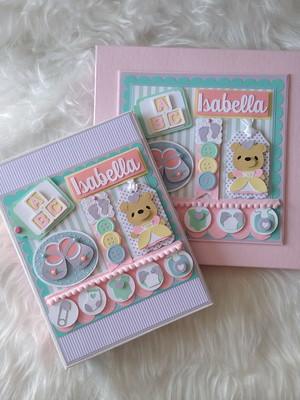 álbum fotos e caixa bebê menina ursa scrapbook candy colors