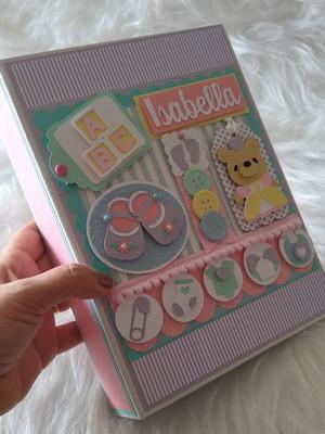 álbum personalizado fotos bebê menina ursa candy color scrap