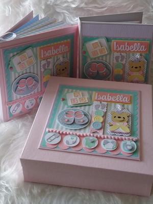 diário bebê menina caixa caderno maternidade ursa candy colo