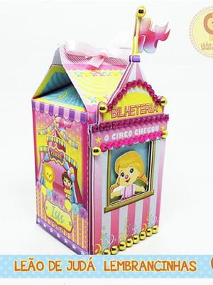 Caixinha Milk M com Aplique tema Circo rosa