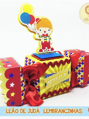 Caixa bala com aplique 3D tema Circo