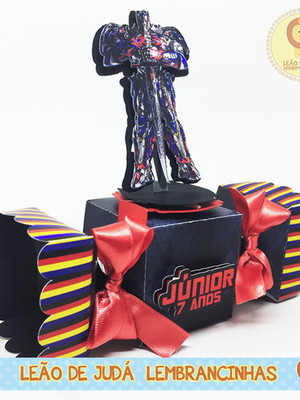 Caixa bala com aplique 3D tema Transformers
