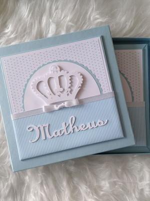 álbum livro diário bebê menino e caixa príncipe azul