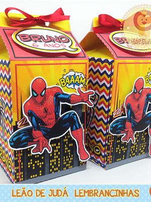 Caixa Milk Com aplique tema Homem Aranha modelo 2
