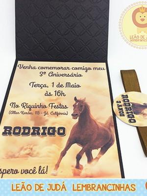 Convite Rubi tema Cavalo