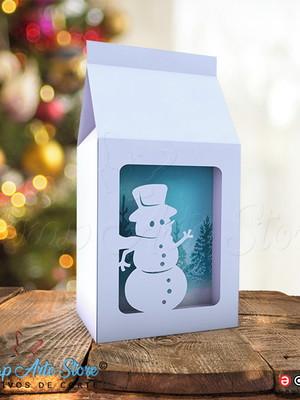 Arquivo de Corte Caixa Milk com visor Boneco de neve