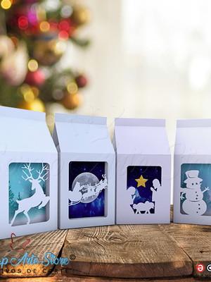 Kit arquivos de Natal Caixa Milk com visor