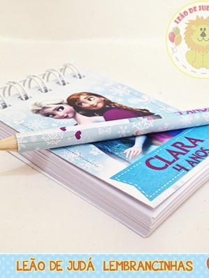 Kit bloquinho e lápis tema Frozen