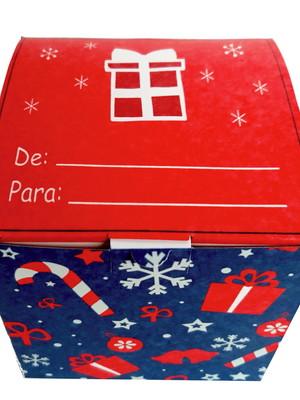 Caixinha estampada de papelão para canecas de Natal