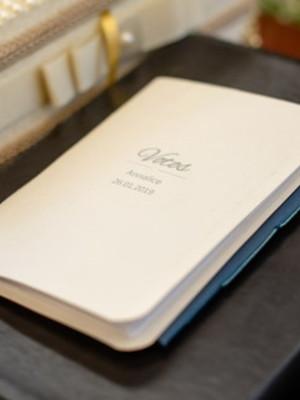 Livro de votos azul marinho e branco - casamento (o par)