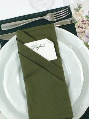 Guardanapo de Tecido Verde Musgo 45 x 45 cm -Bainha Estreita