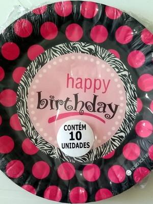 Pratinho Happy Birthday Feliz Aniversário (10 Pratinhos)