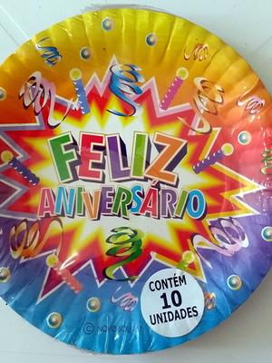 Pratinho Feliz Aniversário (10 Pratinhos)