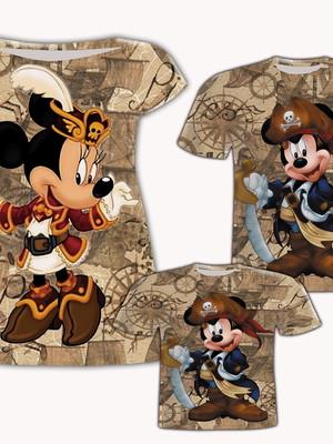 Camisa Pai e Filho + Vestido Mãe - Mick Pirata