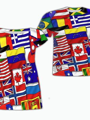 Vestido Mãe + Camisa Filho - Bandeiras