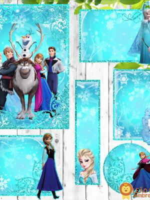 Adesivo escolar - 70 unidades Tema Frozen - Frete Grátis
