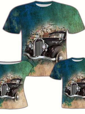 Camisa Pai e Filho + Camisa Filha - Carro Preto