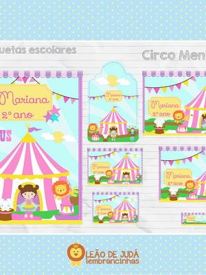 Adesivo escolar - 81 unidades Tema Circo - Frete Grátis