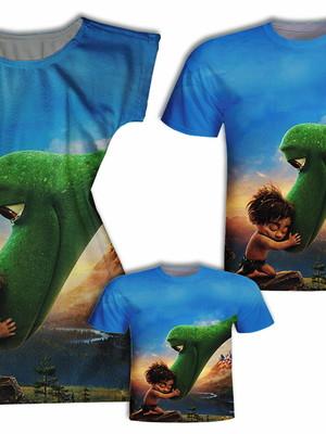 Camisa Pai e Filho + Vestido Mãe - Dinossauro