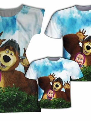 Camisa Pai e Filho + Vestido Mãe - Menina e Urso
