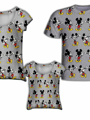 Camisa Mãe e Filha + Camisa Pai - Mick Miniaturas