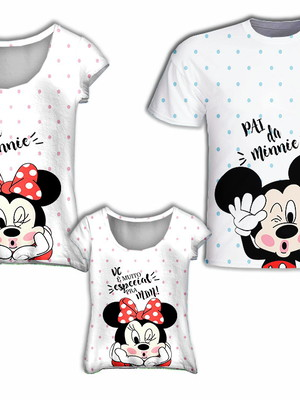Camisa Mãe e Filha + Camisa Pai - Mini Mick Especial